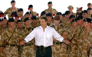 Blair in Iraq. Western coalition forces invaded the country in 2003.