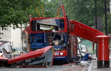 The wreckage of a bus that was blown up as part of the attack on July 7th 2005.