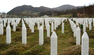 A memorial to the Srebrenica massacre of Bosnian Muslims in 1995. It is seen as exemplifying Muslim victimisation.