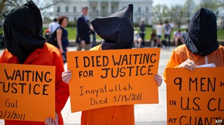 Protesters against Guantanamo Bay. Obama claimed he would close this facility, but he so far has failed to fulfil this promise.