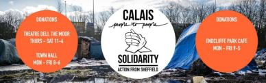 A poster spreading advertising drop-off locations for clothes and foodstuffs for Calais migrants. Link attached.